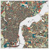 color art map of Philadelphia city