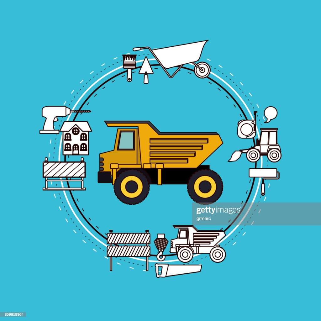 color background circular frame with dumb truck and tools for construction around