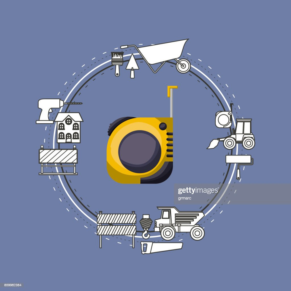 color background circular frame with measuring tape and elements for construction around
