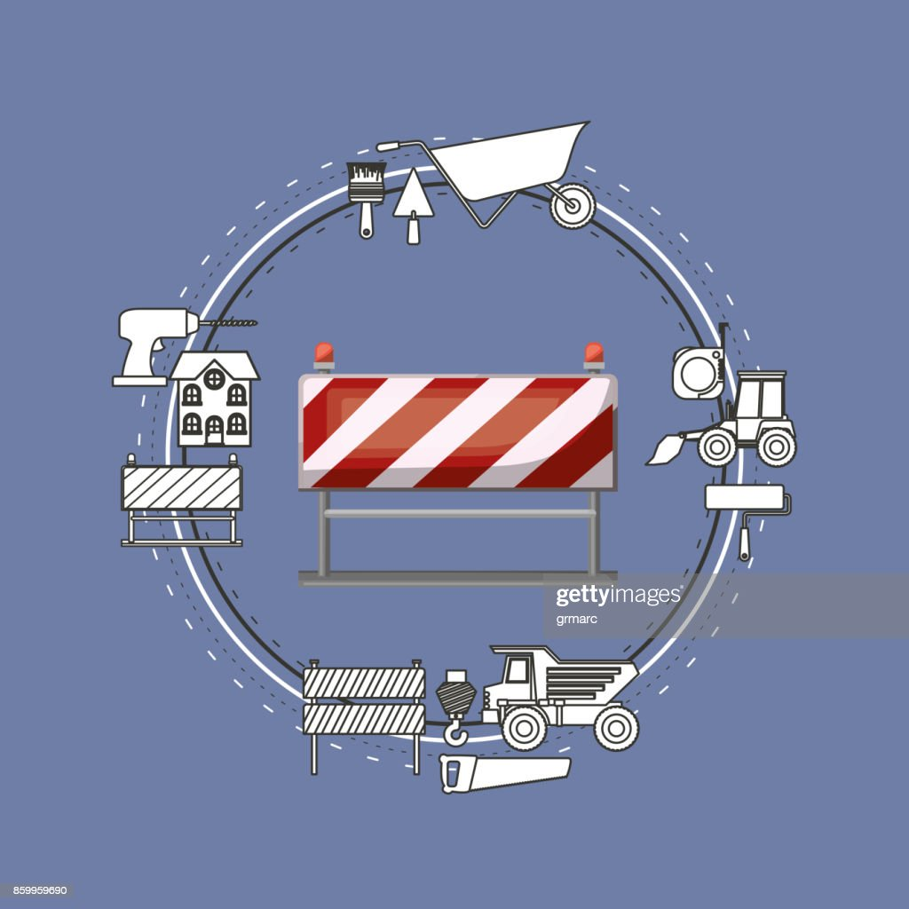 color background circular frame with traffic barrier and tools for construction around