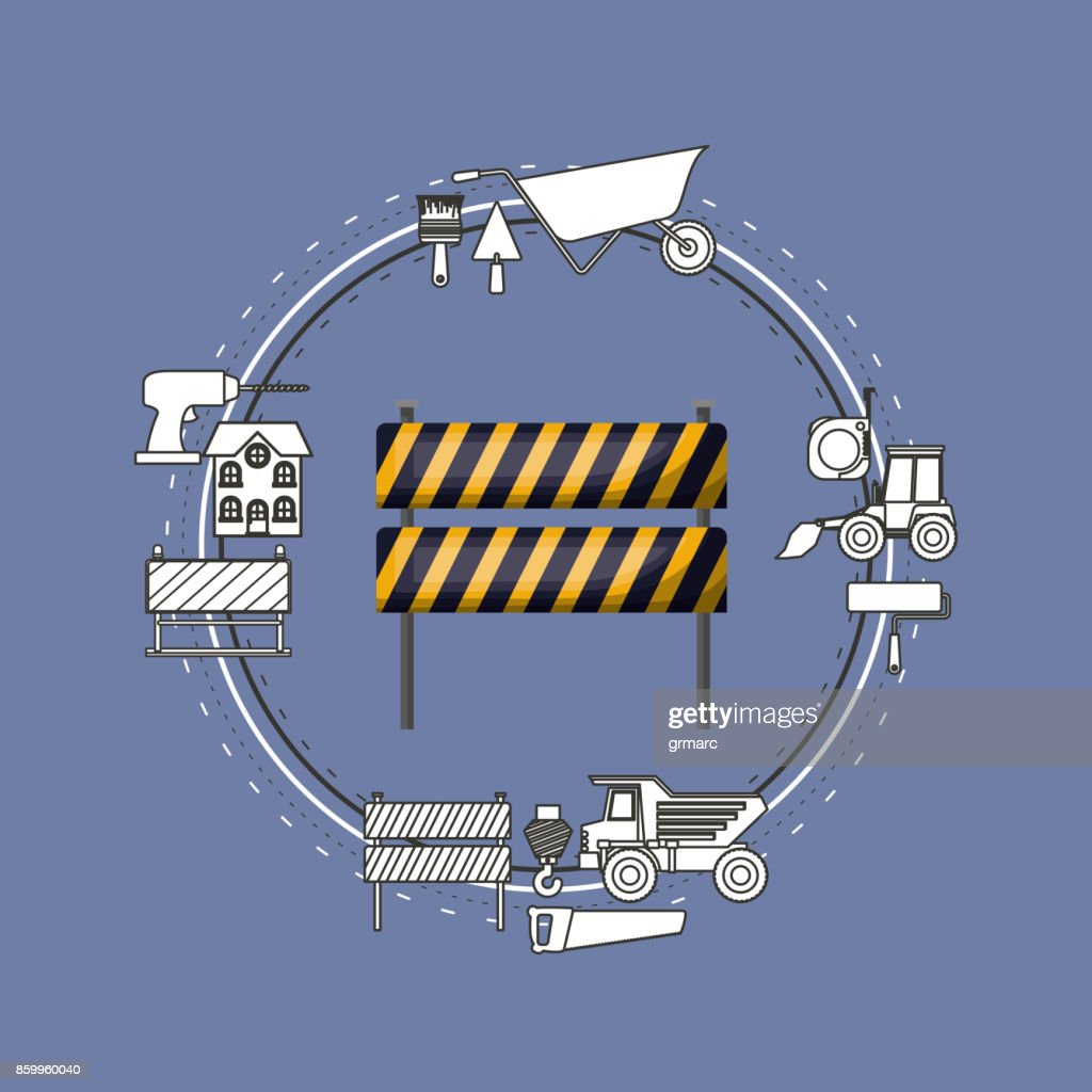 color background circular frame with traffic barrier with yellow and black stripes and tools for construction around