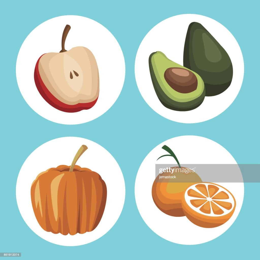 Color Background With Circular Frame Vegetables And Fruits Healthy ...
