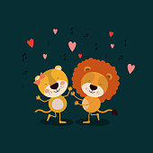 color background with couple of lioness and lion dancing in love