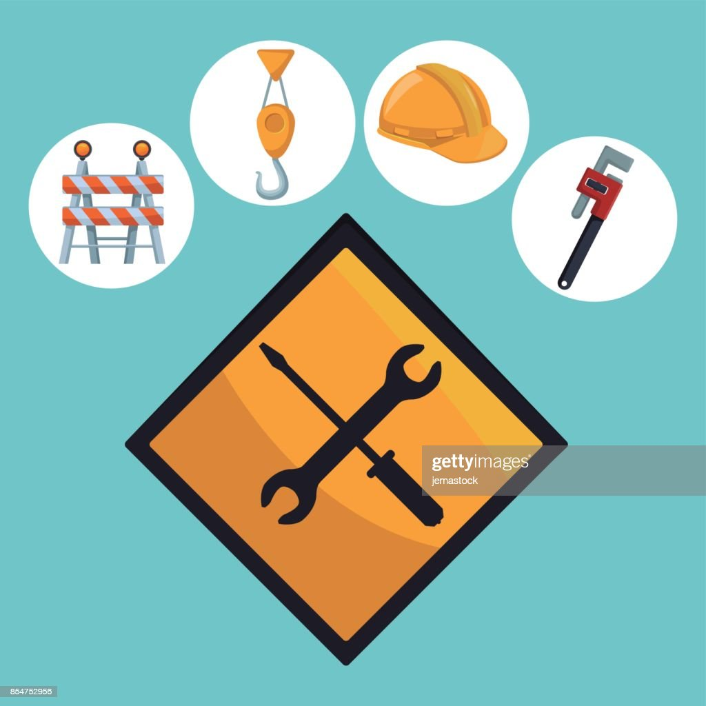 color background with icons in circular frame tools contruction and closeup traffic signal screwdriver and wrench croosed