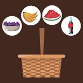 color background with picnic basket with icons picnic soda and fruits