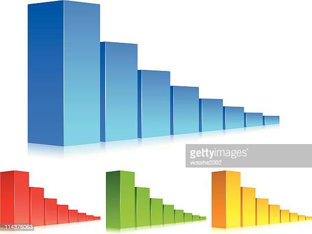 3 d farbe balkendiagramm-stich - balkendiagramm stock-grafiken, -clipart, -cartoons und -symbole