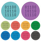 Color binary code flat icons