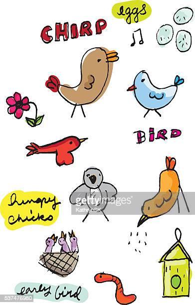 ilustrações de stock, clip art, desenhos animados e ícones de pássaro de cores esboços com texto - canto de passarinho