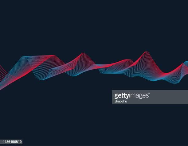 color blend wave line technology pattern background - multiple exposure stock illustrations