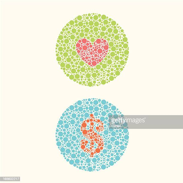 color blind test: for love or money - hidden stock illustrations, clip art, cartoons, & icons