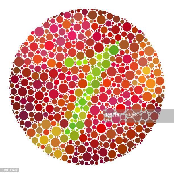 ilustrações, clipart, desenhos animados e ícones de mosaico de teste cor cegueira. - color blindness