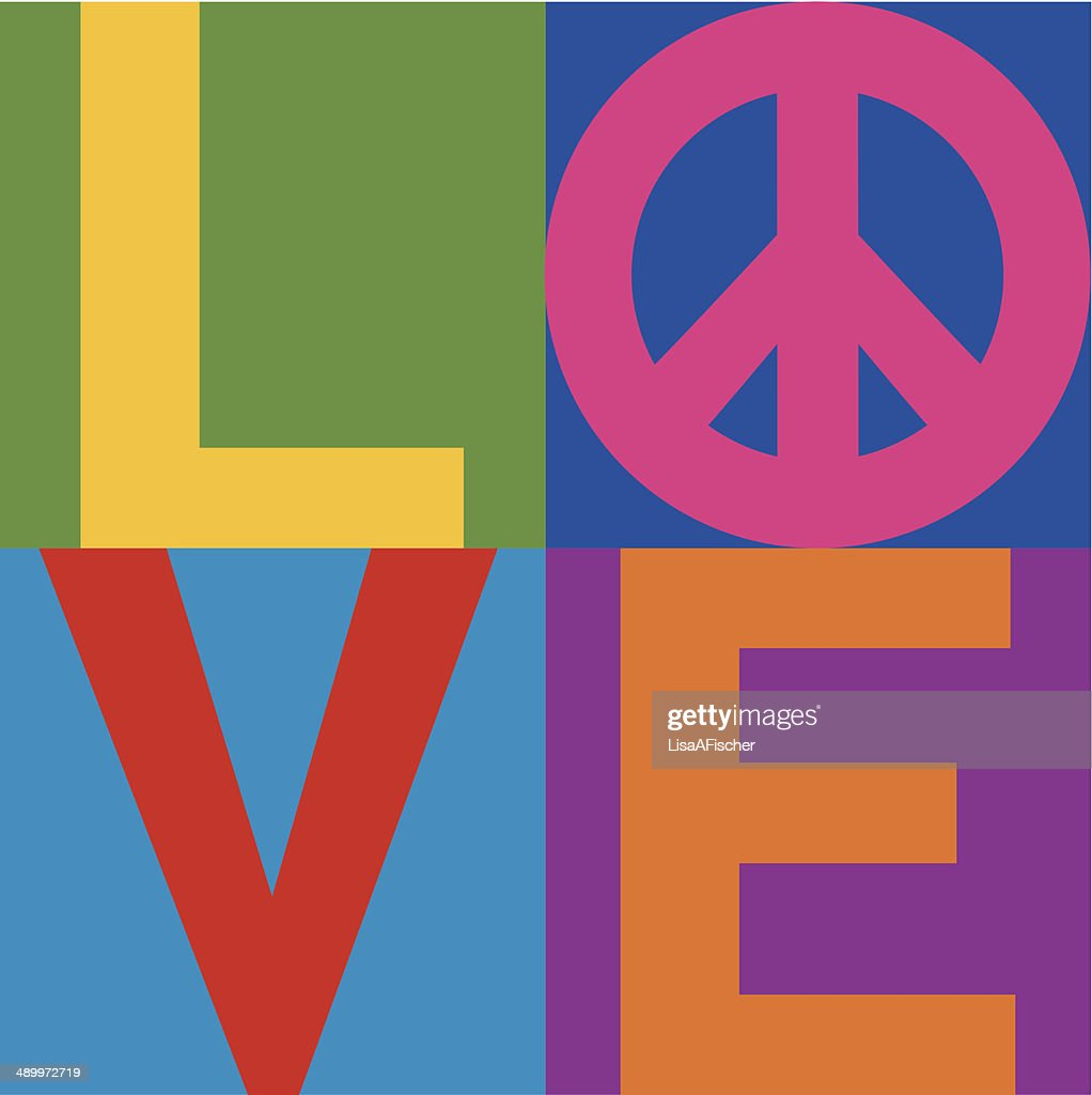 Color block text design of the word 'love'