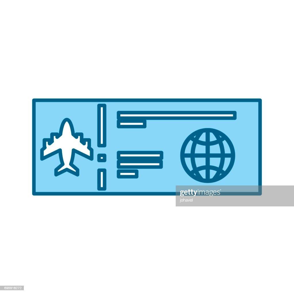 color blue airplane ticket cartoon