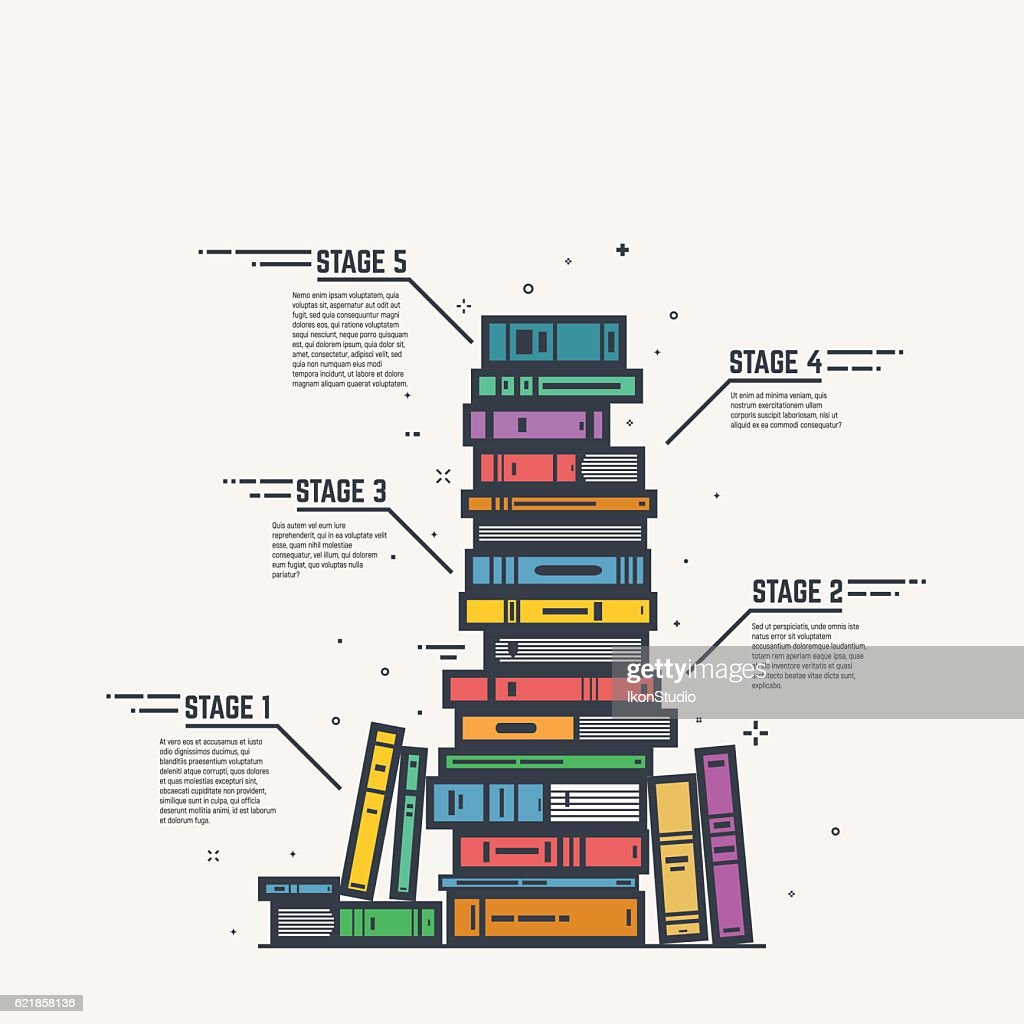 Color book pile line infographics