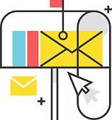 Color box icon, mail box illustration, icon