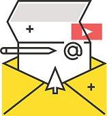 Color box icon, mailing concept illustration, icon