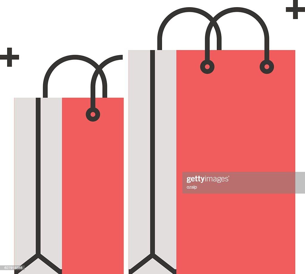 Color box icon, shopping bag concept illustration, icon