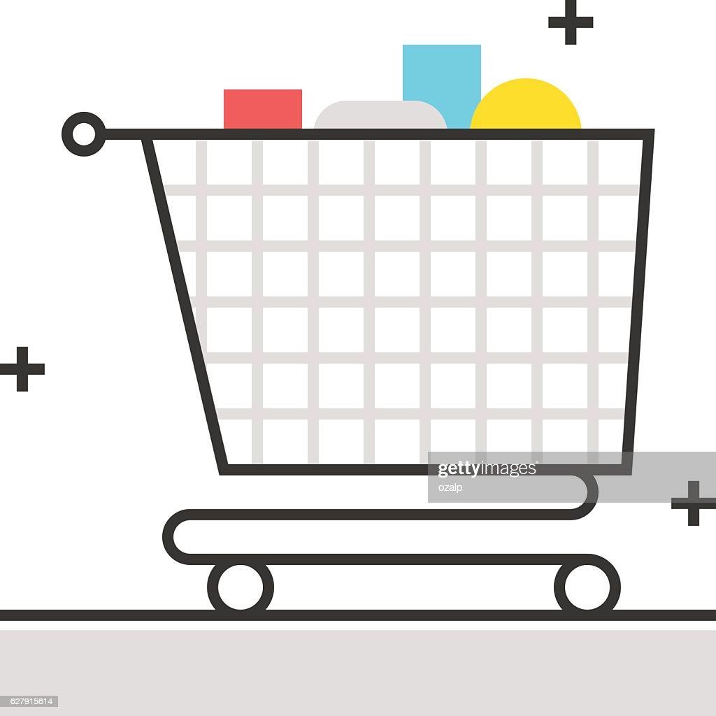 Color box icon, shopping cart concept illustration, icon