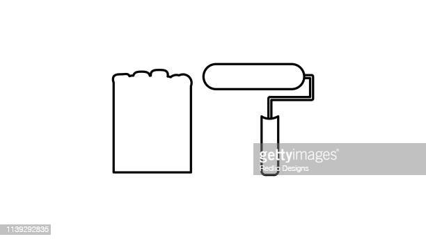 color brush roller icon - powder paint stock illustrations