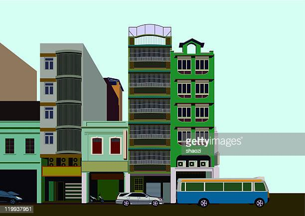color building and street - macao stock illustrations