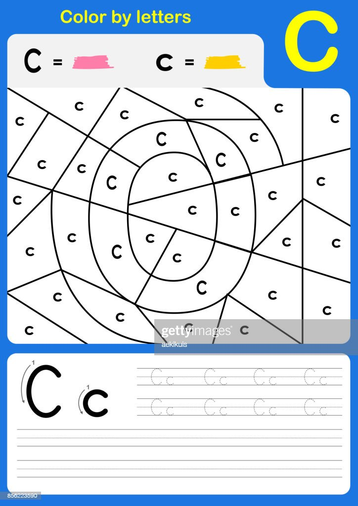 Color by letter alphabet worksheet : Color and Writing A-Z