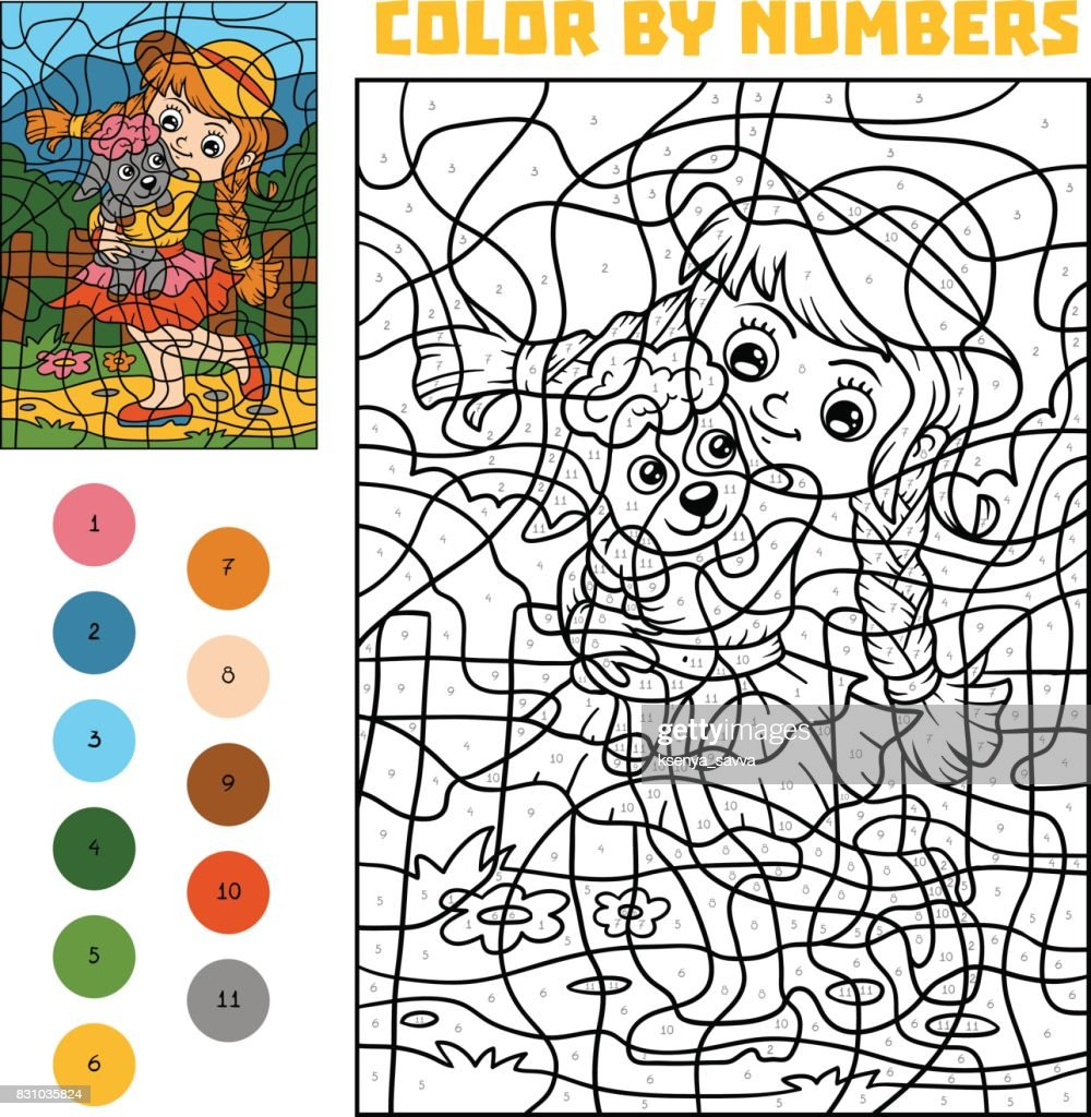 Color by number for children, Girl and sheep