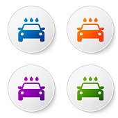Color Car wash icon isolated on white background. Carwash service and water cloud icon. Set color icon in circle buttons. Vector Illustration