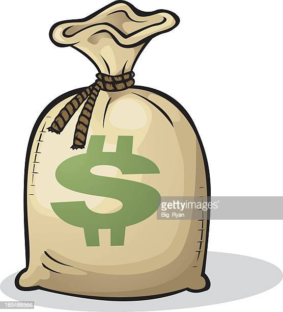 color cartoon drawing of a full bag of money with $ - money bag stock illustrations