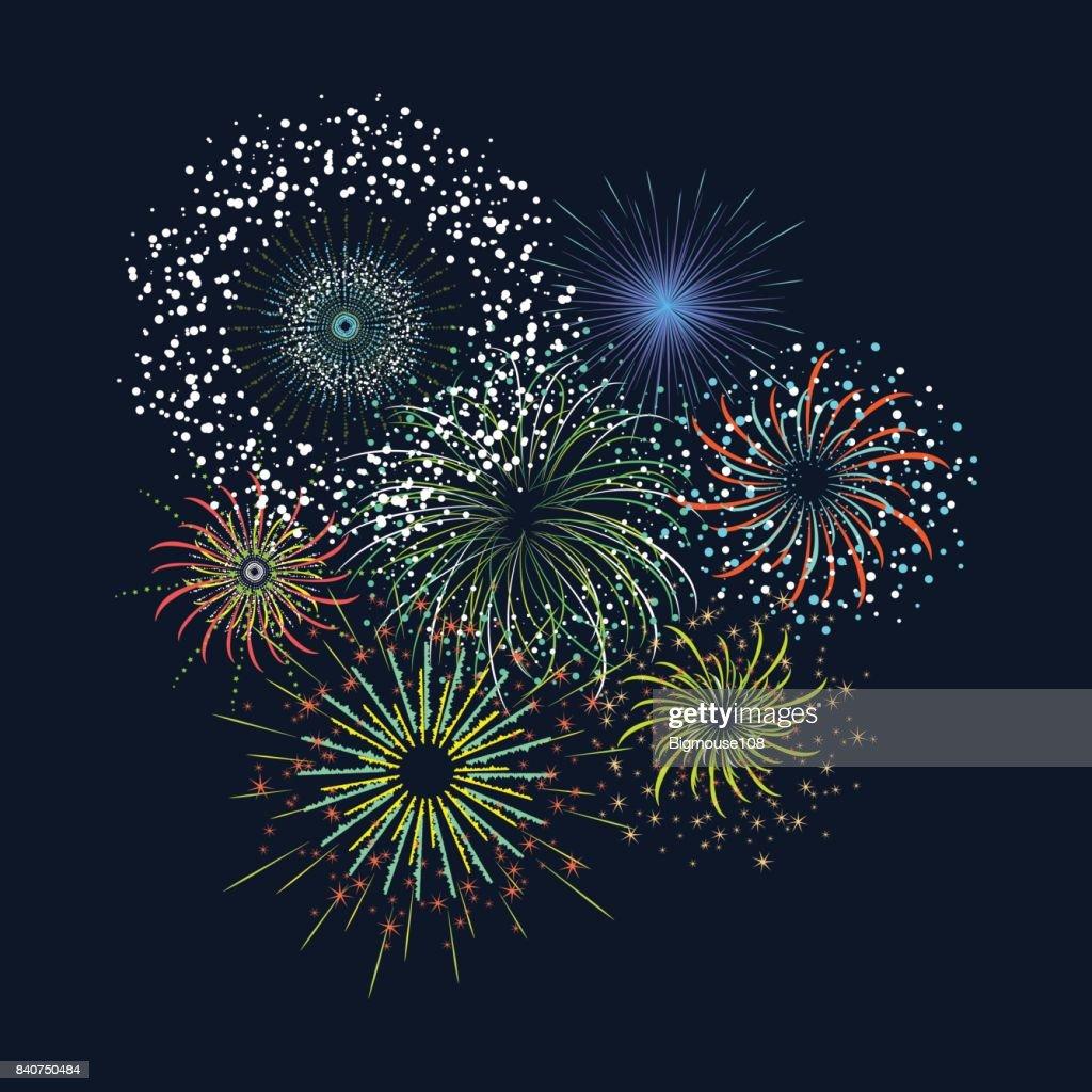 Color Celebration Fireworks Set. Vector