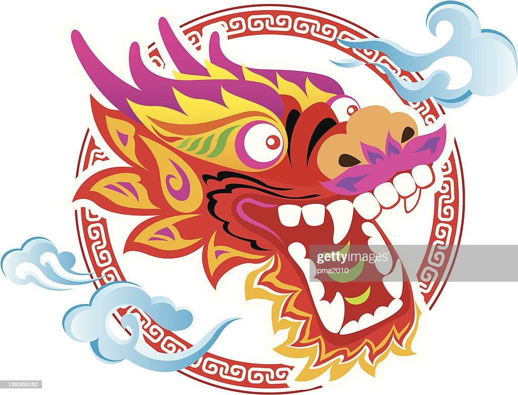 Color Chinese Dragon Head art design