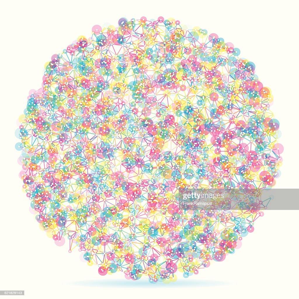 Farbe Kreis abstrakte Netzwerk-Muster : Vektorgrafik