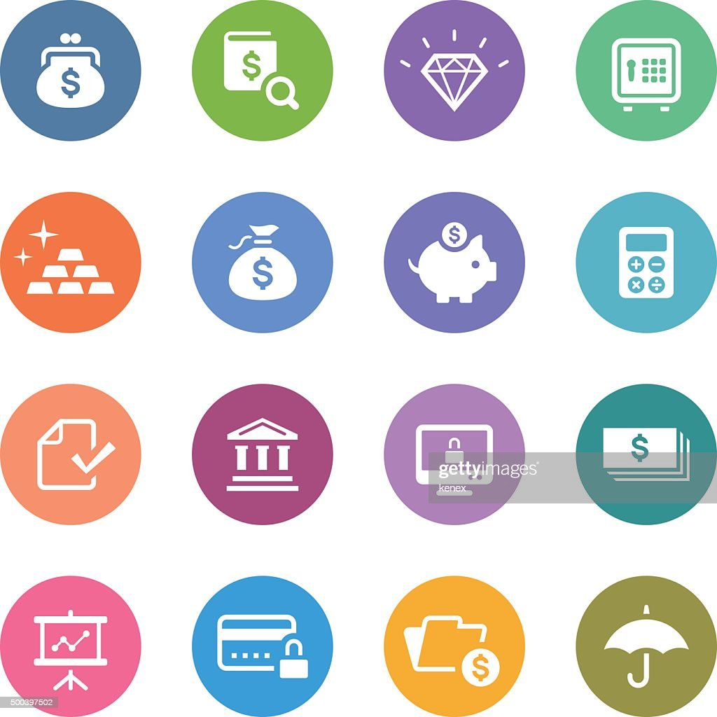 Color Circle Icons Set | Banking & Finance