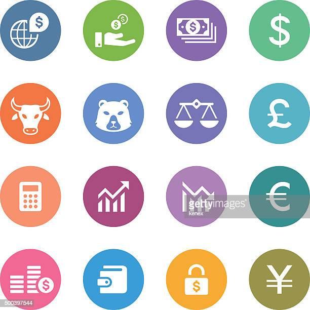 Color Circle Icons Set   Banking & Finance
