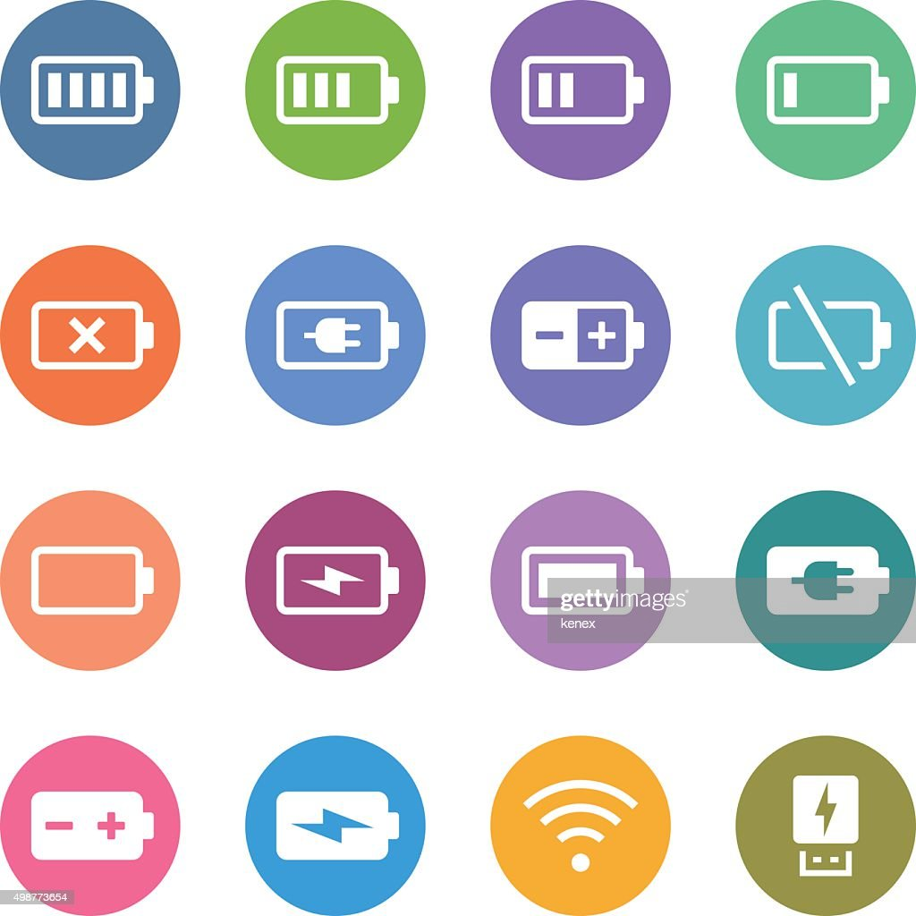 Color Circle Icons Set | Battery & Power