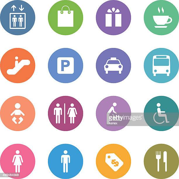 Color Circle Icons Set | Public & Shopping Mall
