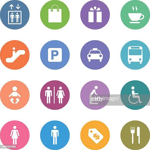 Conjunto de ícones de cor do círculo/público & Shopping Mall
