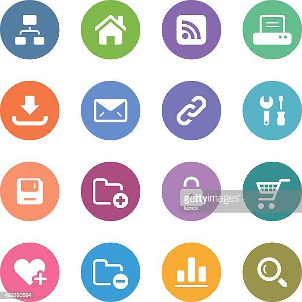 ilustrações, clipart, desenhos animados e ícones de cor circle ícones definido/web & à internet - impressão de computador