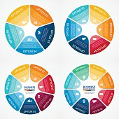 Color circle infographics diagrams set. 5, 6, 7, 8 steps.