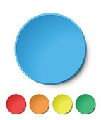 Color Circular Plastic Button on White Background.