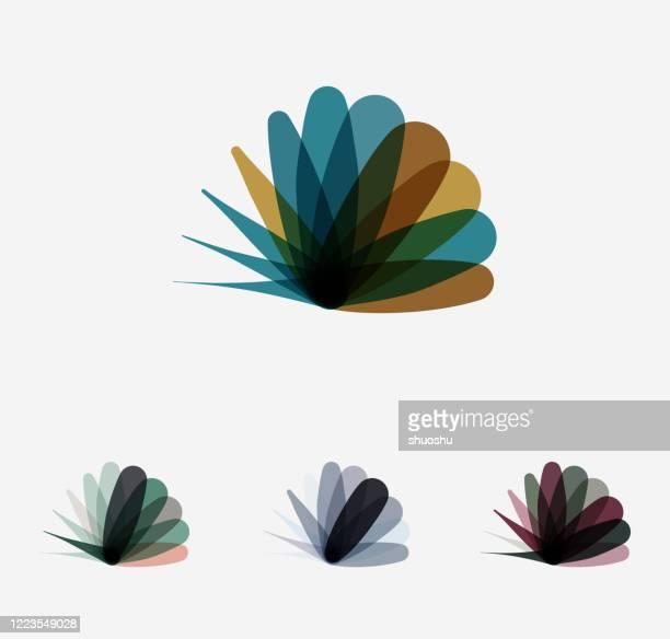 farbe kurve mode pflanze blatt symbol sammlung - oval stock-grafiken, -clipart, -cartoons und -symbole