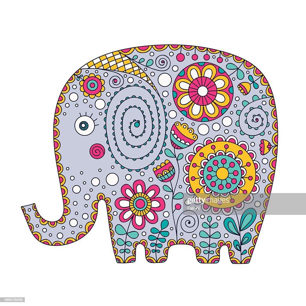 color doodle elephant