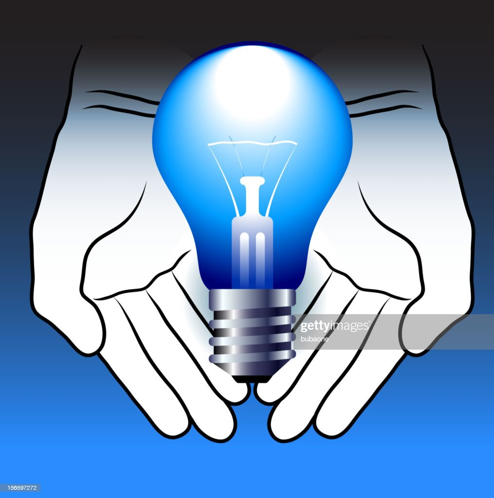 Color Drawing Of Hands Presenting A Light Bulb High Res Vector Graphic Getty Images