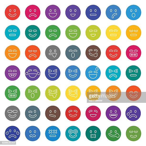 Color emoji collection with outlined facial features set 1