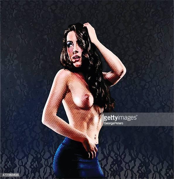 Farbe Engraving. sinnliche, Topless junge Frau