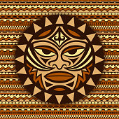 Color ethnic symbol-mask of the Maori people - Tiki on seamless pattern. Thunder-like is symbol of God. Sacrad tribal sign in the Polenesian style for application of Tattoos and Moko.