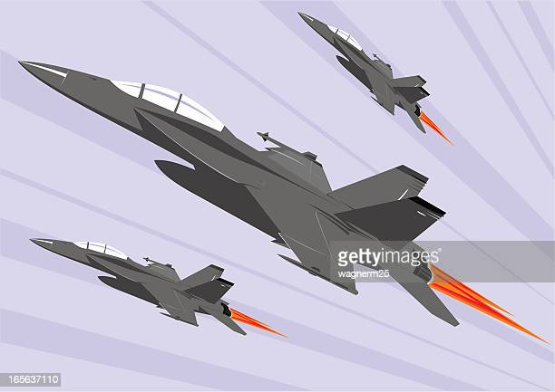 color f-18 super hornet formation - fa 18 hornet stock illustrations
