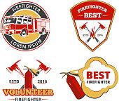 Color firefighter emblems, labels and badges vector set