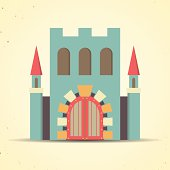 Color flat castle icon for web and mobile applications