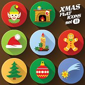 Color flat icon set of christmas elements