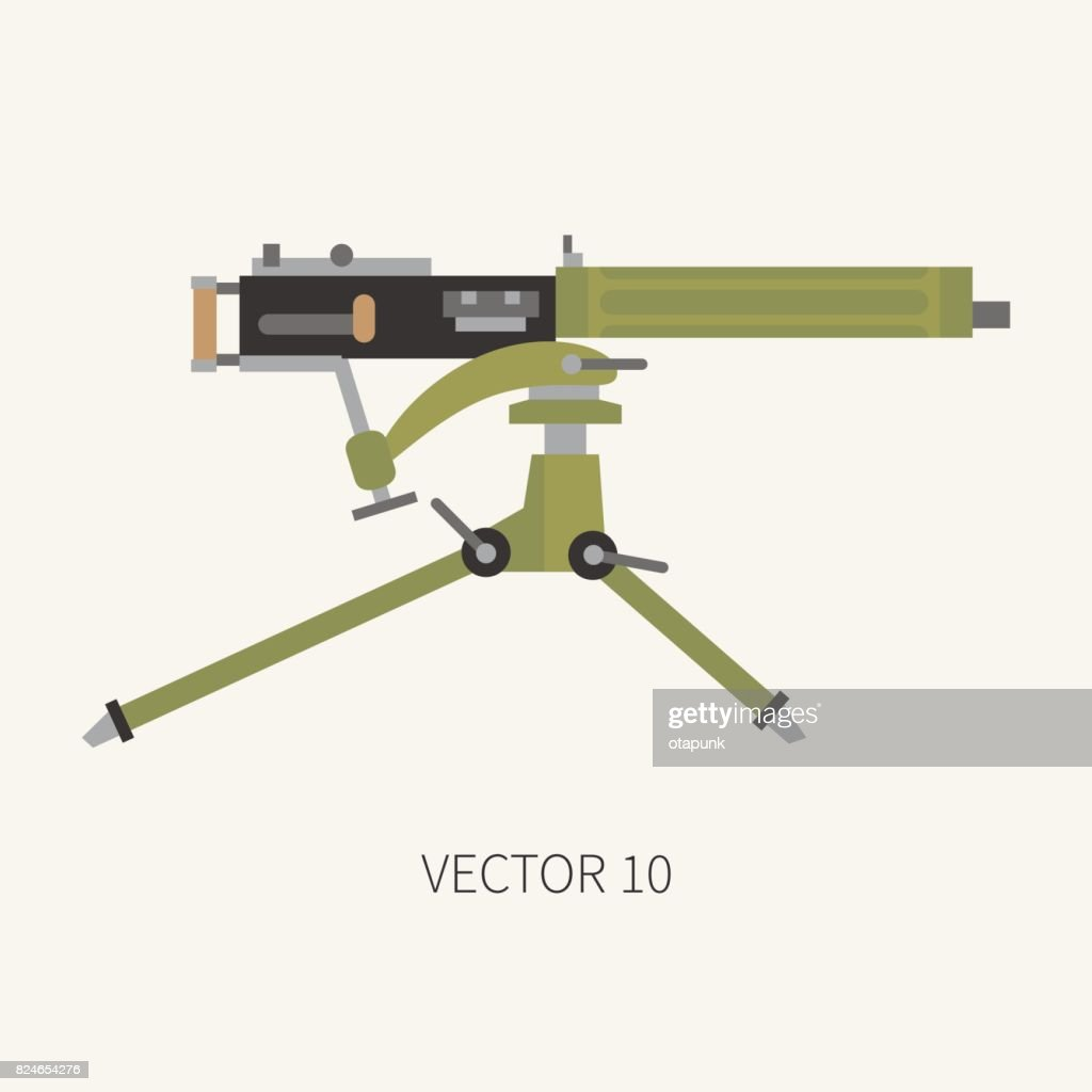 Color flat plain vector military icon machine gun. Army equipment and armament. Legendary retro weapon. Cartoon style. Assault. Soldiers. War. Illustration and element for your design and wallpaper.
